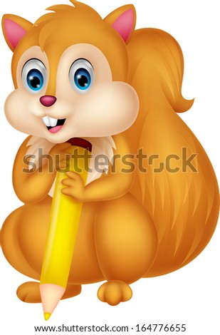 Cute squirrel holding pencil - stock vector