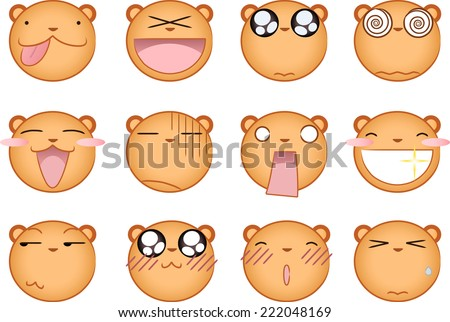 Cute squirrel smiling Smileys Avatar collection Set - stock vector