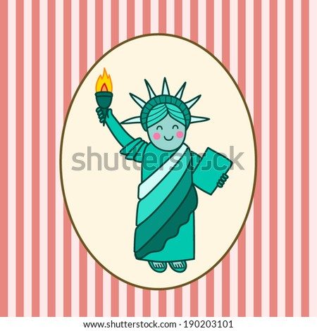 Cute Statue of liberty - stock vector