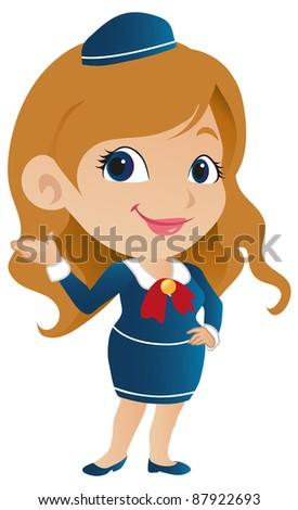Cute Stewardess - stock vector
