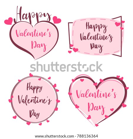 Cute Sticker Happy Valentines Day Banner Stock Photo Photo Vector