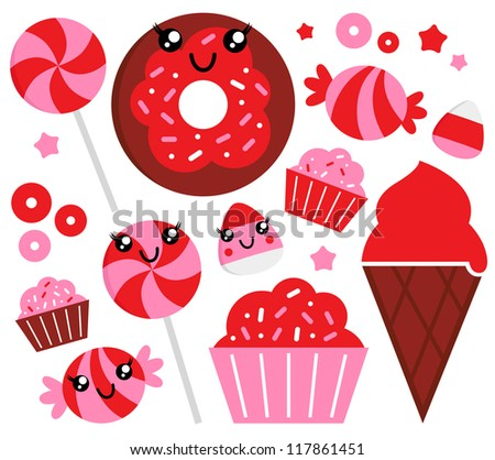 Cute strawberry candy set - red and pink - stock vector