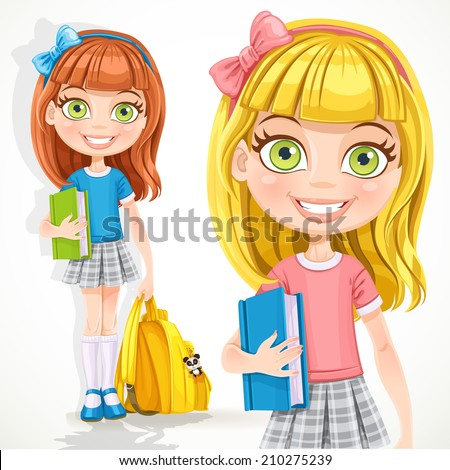 Cute student  girl with a backpack and textbook - stock vector