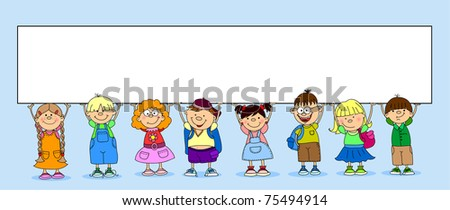 cute students hold a banner - stock vector