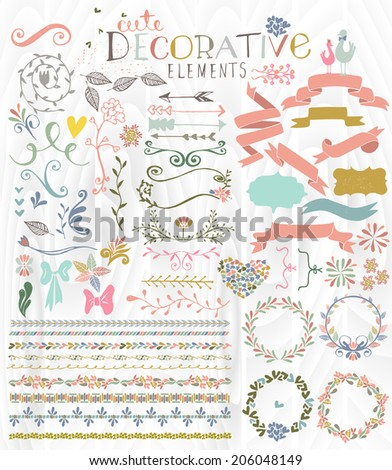 Cute stylish decorative elements vector illustration - stock vector