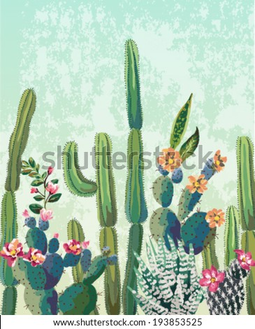 Cute succulents cactus vector pattern - stock vector