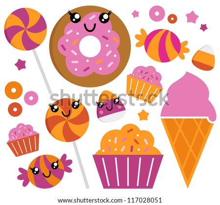 Cute sugar candy set isolated on white - stock vector