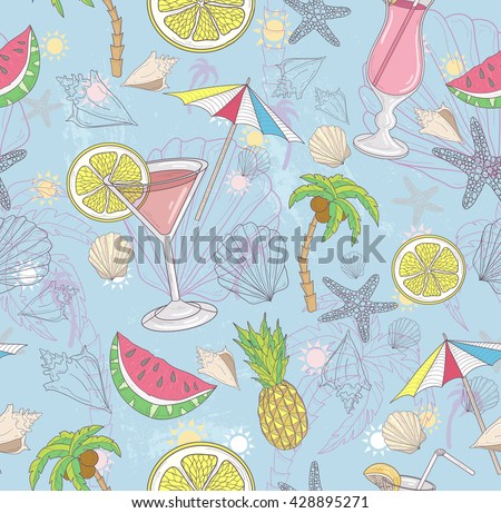 Cute summer abstract pattern. Seamless pattern with cocktails, sunglasses, fruits, palms, and seashells.  Fun pattern for children or teenagers.