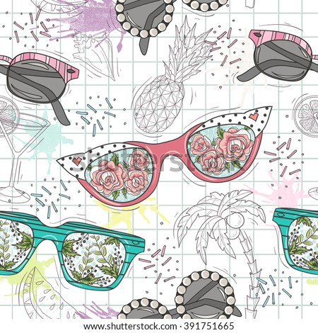 Cute summer abstract pattern. Seamless pattern with sunglasses. Fun pattern for children or teenager girls. - stock vector