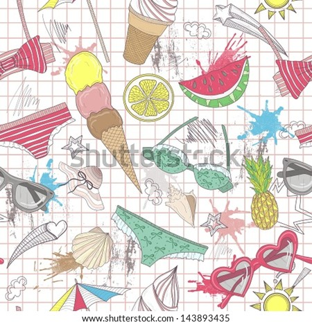 Cute summer abstract pattern. Seamless pattern with swimsuits, sunglasses, suns, ice creams, and seashells . Fun pattern for children or teenager girls. - stock vector