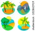 Cute summer icons set, vector illustration - stock vector