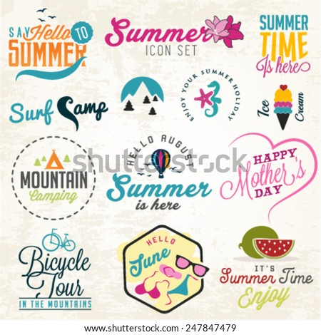 Cute Summer Illustrations and Badges Set - stock vector