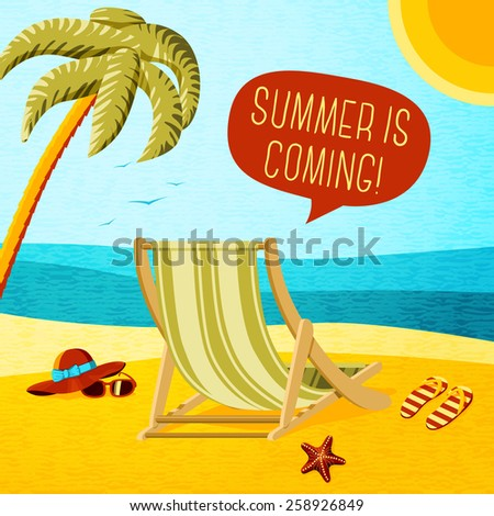 Cute summer poster - beach chair, palm, hat and sunglasses with speech bubble for your text. Vector. - stock vector