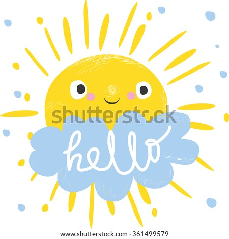 cute sun and cloud says hello. vector illustration. Card for kids.