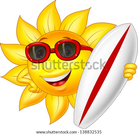 Cute sun cartoon character with surfing board - stock vector