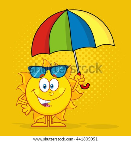 Cute Sun Cartoon Mascot Character Holding A Umbrella. Vector Illustration With Yellow Halftone Background - stock vector