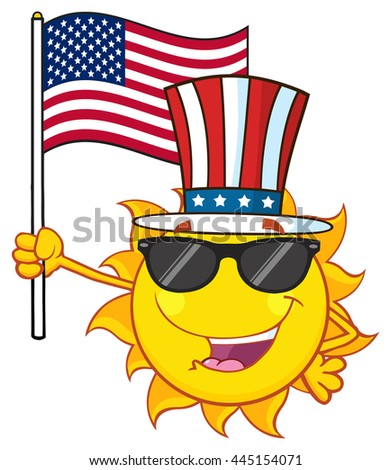 Cute Sun Cartoon Mascot Character With Sunglasses And Patriotic Hat Holding An American Flag. Vector Illustration Isolated On White Background - stock vector