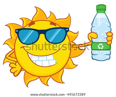 Cute Sun Cartoon Mascot Character With Sunglasses Holding A Water Bottle With Recycle Sign. Vector Illustration Isolated On White Background - stock vector