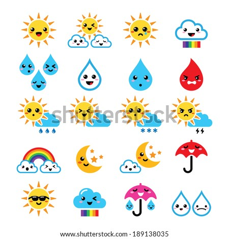 Cute sun, rainbow, moon, rain and cloud - Kawaii, Manga icons    - stock vector