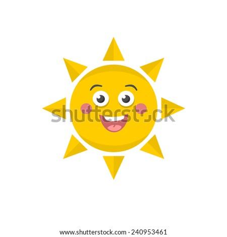 Cute sun. Vector illustration of funny sky object. - stock vector