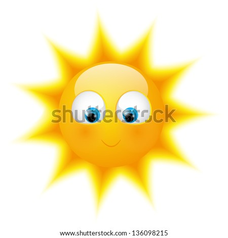 Cute sunny character isolated on white - stock vector