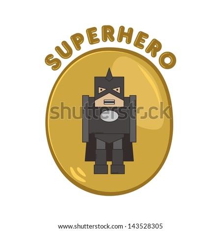 cute super hero cartoon in dark uniform - stock vector
