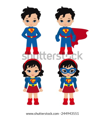 Cute superhero girl and boy vector clip art set. Super Girl and Super Boy. - stock vector
