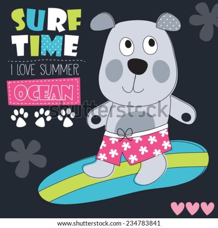 cute surf dog vector illustration - stock vector