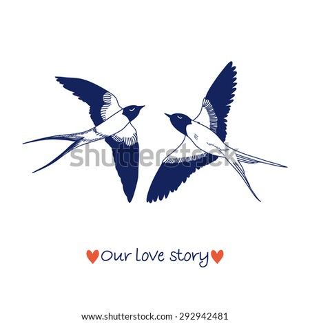 Cute swallows in love, vector illustration