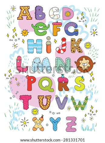 cute sweet candy alphabet for kids - stock vector
