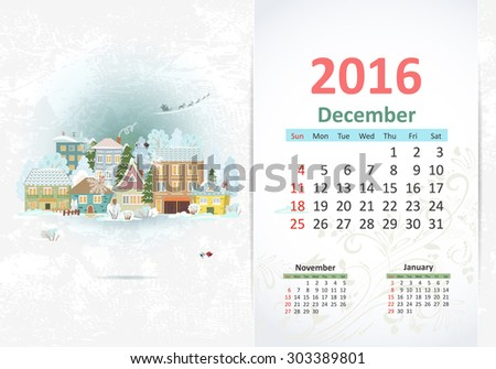 Cute sweet town. calendar for 2016, December - stock vector
