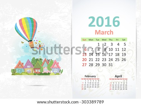 Cute sweet town. calendar for 2016, March - stock vector