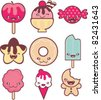 cute sweets and candy - stock vector
