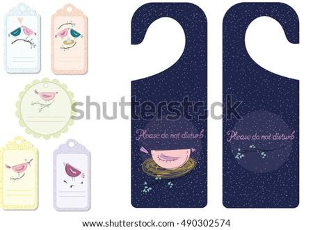 cute tags door hangers stock vector 490302574 shutterstock
