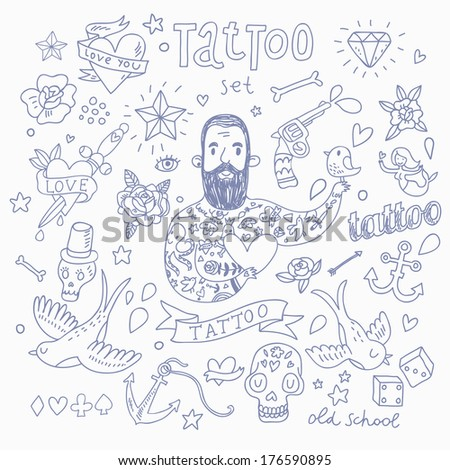 Cute tattoo vector set. Cute vintage collection of tattoo, heart, pigeon, anchor, diamond, flower, dice, pistol and others - stock vector