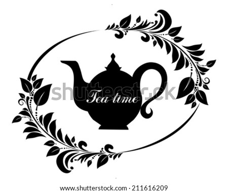 Cute tea time card. Beautiful background with teapot and place for your text. Menu for restaurant, cafe, bar, tea-house. vector illustration  - stock vector