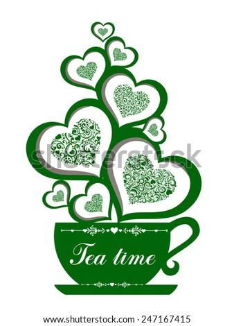 Cute tea time card. Cup with floral design elements. Menu for restaurant, cafe, bar, tea-house. vector illustration  - stock vector
