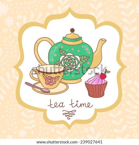 Cute tea time card. Vector illustration - stock vector