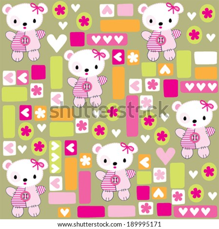 cute teddy bear girl pattern vector illustration - stock vector