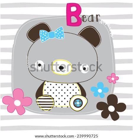 cute teddy bear girl striped background vector illustration - stock vector