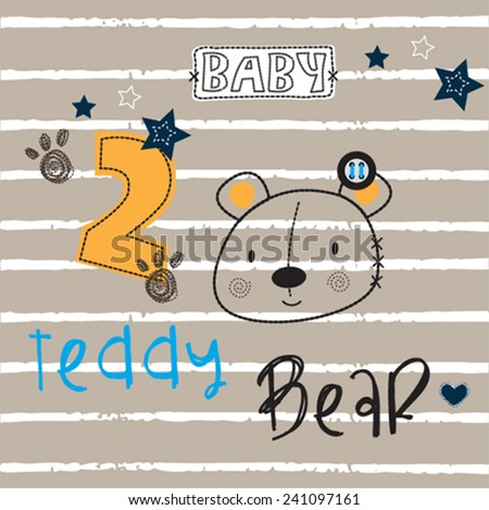 cute teddy bear head embroidery on striped background vector illustration - stock vector