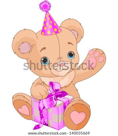 Cute Teddy Bear holding pink gift box - stock vector