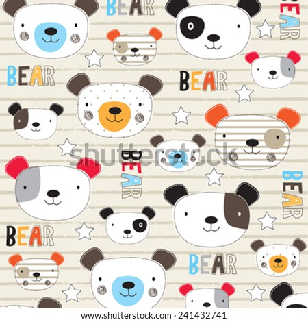 cute teddy bear kids background pattern vector illustration - stock vector