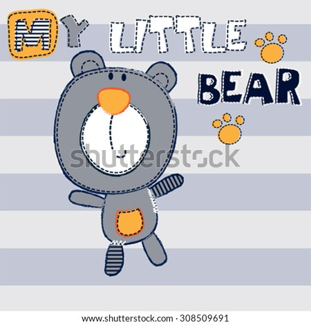 cute teddy bear on striped background, T-shirt design vector illustration - stock vector