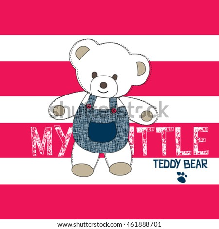 cute teddy bear on striped background, T-shirt design vector illustration