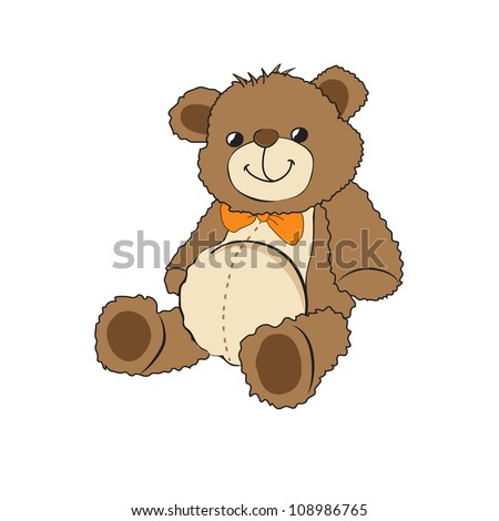 Cute teddy bear on white background - stock vector