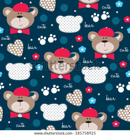 cute teddy bear pattern vector illustration - stock vector