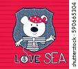 cute teddy bear sailor  t shirt ...