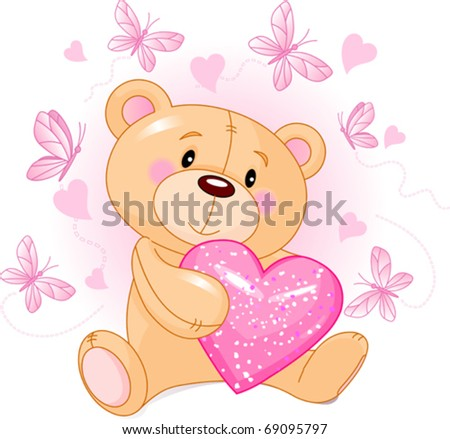 Cute Teddy Bear sitting with pink love heart - stock vector