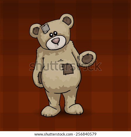 Cute teddy bear, standing and waving, vector illustration - stock vector